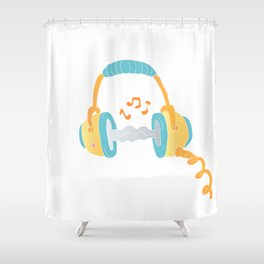 watercolor headphone Shower Curtain
