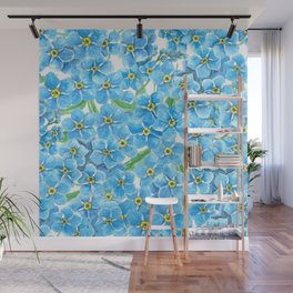 Forget me not watercolor Wall Mural
