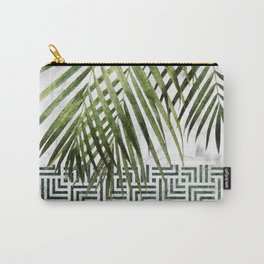 Palm Leaves on White Marble and Tiles Carry-All Pouch