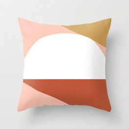 Mid Century Modern Sunset - Terracotta Peach Mustard Throw Pillow