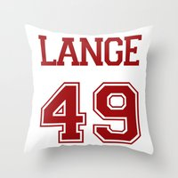 jessica lange Throw Pillows featuring Jessica Lange Varsity by NameGame