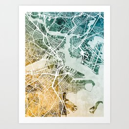 Boston Massachusetts Street Map Art Print