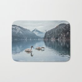 Swans on the Apsee lake, Bavrian alps Bath Mat