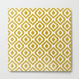 Mid Century Modern Diamond Ogee Pattern 145 Golden Yellow Metal Print