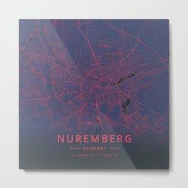 Nuremberg, Germany - Neon Metal Print