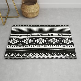 Aztec Pattern Black and White Rug