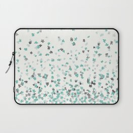 Floating Confetti - Cream Mint and Silver Laptop Sleeve