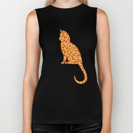 Another Orange Leopard-Print Cat Silhouette Biker Tank