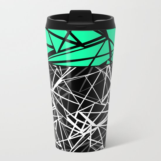 Black and white abstract geometric pattern with green insert . Metal Travel Mug