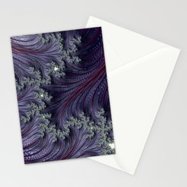 Purple Violet Wispy Feathery Elegant Fancy Beautiful 3D Swirling Flourish Abstract Fractal Art Stationery Cards