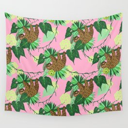 Sloth - Green on Pink Wall Tapestry