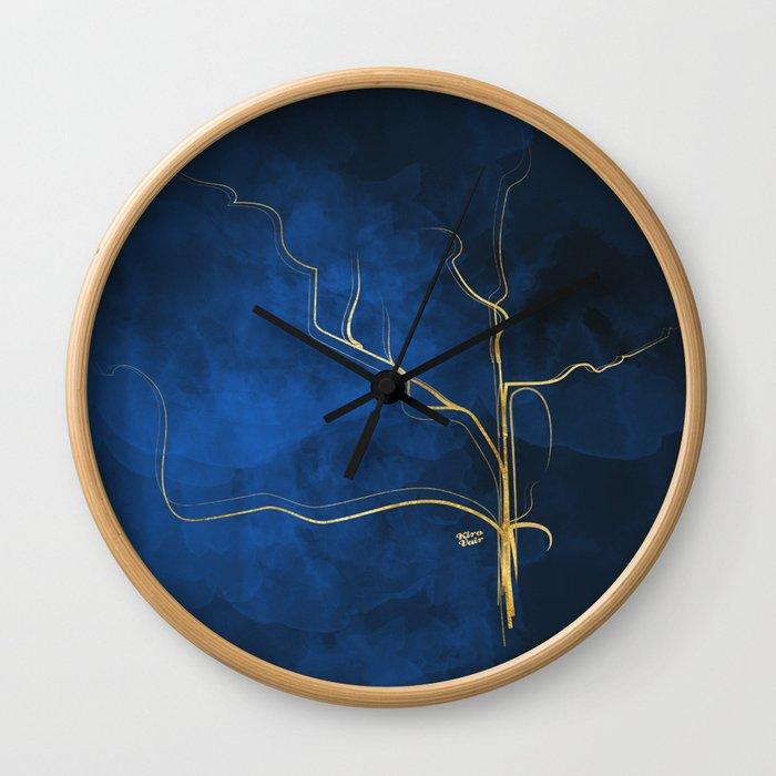 Kintsugi Electric Blue #blue #gold #kintsugi #japan #marble #watercolor #abstract Wall Clock
