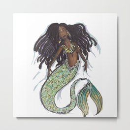 dreadlock mermaid Metal Print