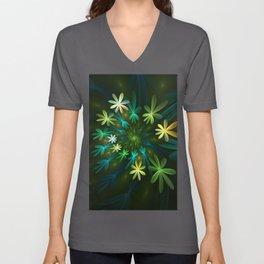 Fantasy Flowers, Fractal Art Unisex V-Neck