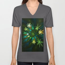 Fantasy Flowers, Fractal Art Unisex V-Neck