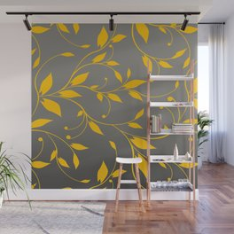 FLOWERY VINES | grey yellow Wall Mural