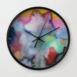 Dreamlike, figurative, whimsical mountain landscape Wall Clock