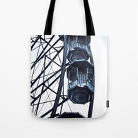 ferris wheel Tote Bags featuring Ferris Wheel by 'Stuffy'