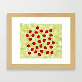Ladybugs and leaves nature print Framed Art Print