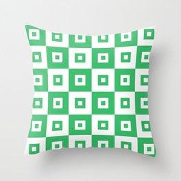 Retro Mid Century Modern Square Pattern Green Throw Pillow