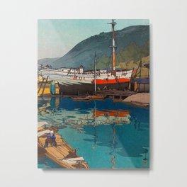 Kinoe harbor Hiroshi Yoshida Vintage Japanese Woodblock Print Metal Print