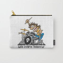 Me Like Drum. Wild Drummer Cartoon Illustration Carry-All Pouch