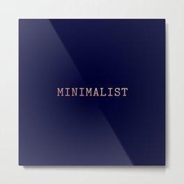 Dark Navy Blue and Copper Minimalist Typewriter Font Metal Print