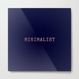 Dark Navy Blue and Copper Minimalist Typewriter Font Metal Print