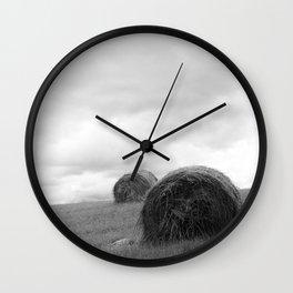 Mountain Farm, Hay Rolls, Impending Storm by Steve Ricci Wall Clock