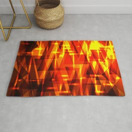 Red gold in stripes and triangles. Rug