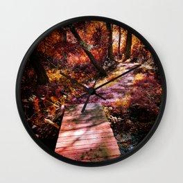 Wooden Bridge in the Autumn Woods Wall Clock