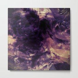 Vintage Deep Purple Bouquet of Roses & Cloulds Metal Print
