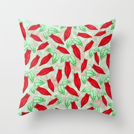 Red Hot Chilli Pepper Decorative Food Art Throw Pillow