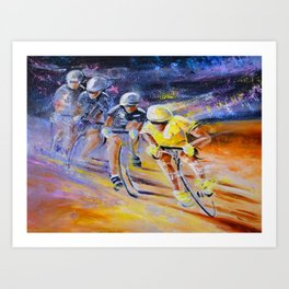 Defying Time In A Yellow Jersey Art Print