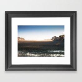 Marsh at Hazy Sunrise Framed Art Print