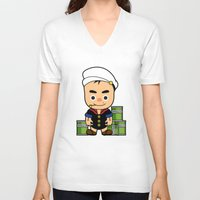 popeye V-neck T-shirts featuring Popeye  by Jefferson Ng