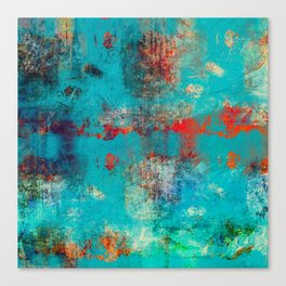 Aztec Turquoise Stone Abstract Texture Design Art Canvas Print