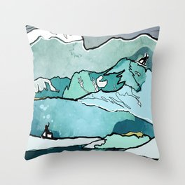 Snowboarding sessions Throw Pillow