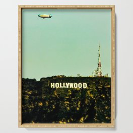 Hollywood Sign with Blimp Serving Tray