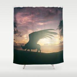 Flying Rhino, Fantasy art, Surreal Africa, Wildlife art Shower Curtain