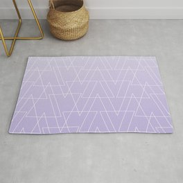 Modern white geometric triangles pattern on purple lavender ombre white gradient Rug
