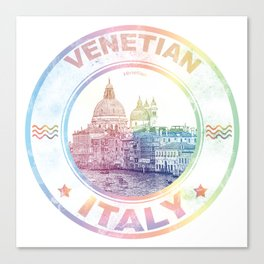 Venetian Italy Colorful Vintage Poster Canvas Print