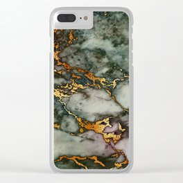 Gray Green Marble Glitter Gold Metallic Foil Style Clear iPhone Case