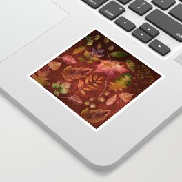 My favorite color is october- Colorful autumnal leaves pattern Sticker