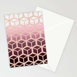 mauve ombre with rose gold cubes Stationery Cards