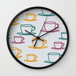 Teacups - multicolored Wall Clock
