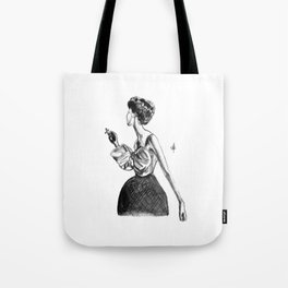Cigarette Girl with Bow Dress Tote Bag