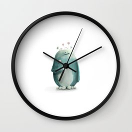 Cute little monster, with lovely flowers on his head Wall Clock