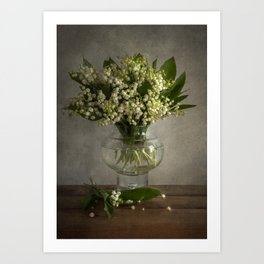 Still life with a boquet of fresh lilies of the valley Art Print