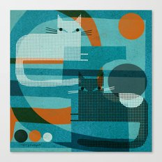 CATS ON BLUE WITH ORANGE Canvas Print